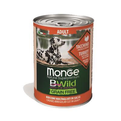 Monge Dog BWild Grainfree ADULT консервы из индейки с тыквой и кабачками для собак всех пород 400г  арт. 70012645