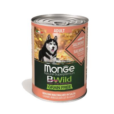 Monge Dog BWild Grainfree ADULT консервы из лосося с тыквой и кабачками для собак всех пород 400г  арт.70012621