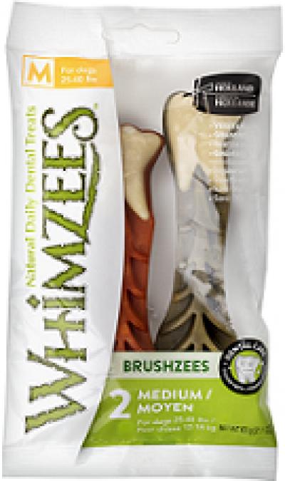 -Whimzees VET лакомство для чистки зубов Дентал Браш для собак М 11 см 2 шт в блистере арт.53620