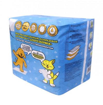 -Доброзверики подстилки для животных с бумагой тиссью и суперабсорбентом 60х40 см, 20 шт арт.569680