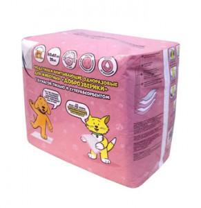 -Доброзверики подстилки для животных с бумагой тиссью и суперабсорбентом 60х60 см, 20 шт арт.569697