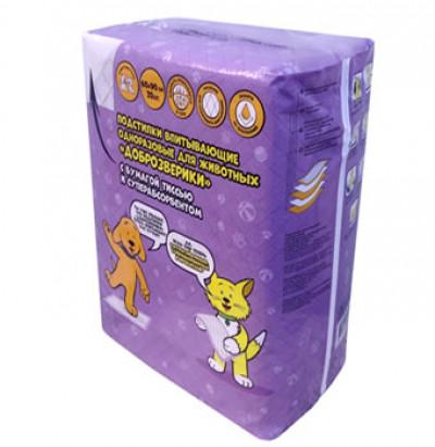 -Доброзверики подстилки для животных с бумагой тиссью и суперабсорбентом 60х90 см, 20 шт арт.569703