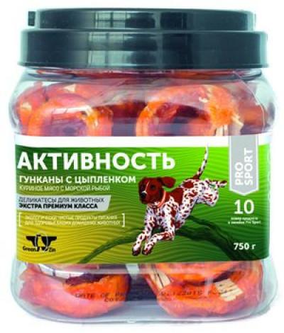 -Грин Кьюзин Лакомство для собак Активность (куриное мясо на колечках из сурими) туба 750гр арт.57000