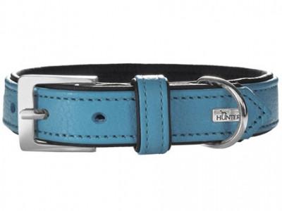 Hunter ошейник для собак Capri 60 (46-52 см) натуральная кожа бирюзовый/черный