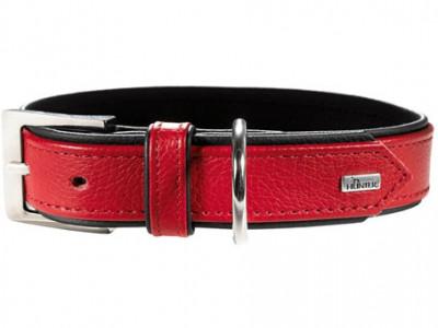 -Hunter ошейник для собак Capri 35 (24-30 см)/1,8 натуральная кожа красный/черный