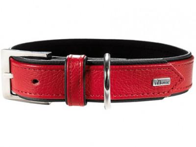 -Hunter ошейник для собак Capri 55 (42-48 см) натуральная кожа красный/черный