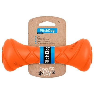 PitchDog Игровая гантель для апортировки, длина 19 см, диаметр 7 см, оранжевая арт. 62394