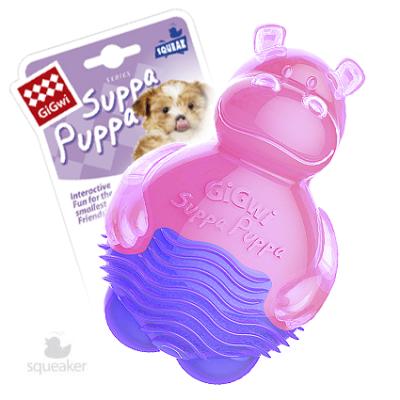 -GiGwi Suppa Puppa игрушка для щенков Бегемотик с пищалкой 10 см арт.63005