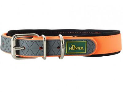 Hunter ошейник для собак Convenience Comfort 55 (42-50 см)/2,5 см биотановый с мягкой горловиной оранжевый неон