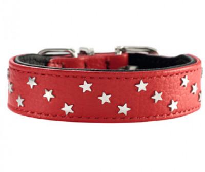 -Hunter ошейник для собак Capri Mini Звезды 37 (30-34,5 см) кожа, красно-черный