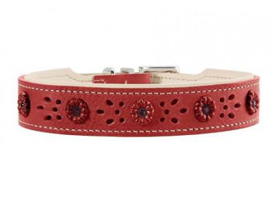 -Hunter ошейник для собак Virginia Rose 47 (38-43,5 см) кожа, красно/бежевый