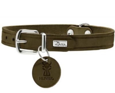 -Hunter ошейник для собак Aalborg 42/1,6 (32-38 см) кожа, оливковый