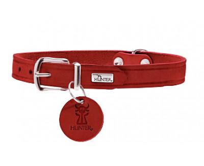 -Hunter ошейник для собак Aalborg 32/1,2 (24-29 см) кожа, красный арт.68336