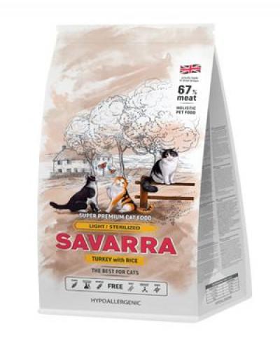 SAVARRA Light Cat Сухой корм для взрослых кошек с избыточным весом 2кг Индейка рис