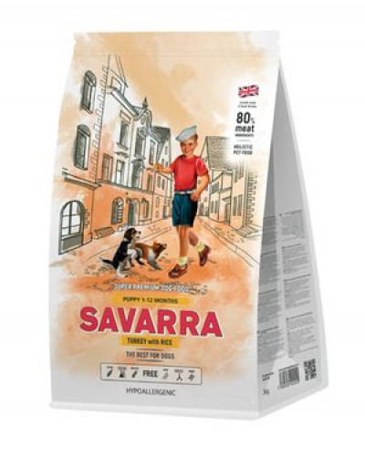 Саварра Puppy Сухой корм для щенков 3кг Индейка рис