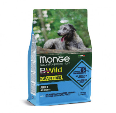 Monge Dog BWild GRAIN FREE беззерновой корм из анчоуса c картофелем и горохом для собак всех пород 2,5 кг арт.70004701