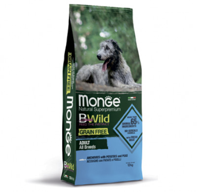 Monge Dog BWild GRAIN FREE беззерновой корм из анчоуса c картофелем и горохом для собак всех пород 12 кг арт.70004718