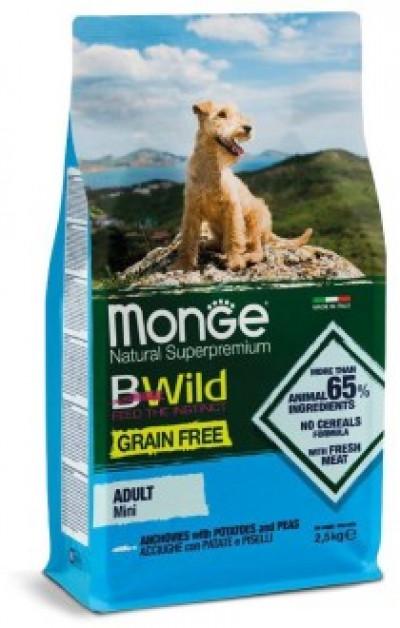 Monge Dog BWild GRAIN FREE Mini беззерновой корм из анчоуса с картофелем и горохом для взрослых собак мелких пород 2.5кг арт. 70004725