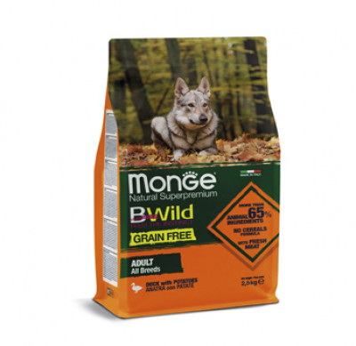 Monge Dog BWild GRAIN FREE беззерновой корм из мяса утки с картофелем для взрослых собак всех пород 2,5 кг