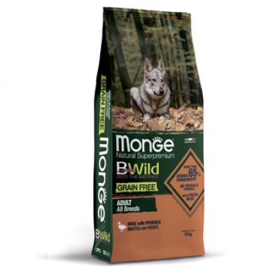 Monge Dog BWild GRAIN FREE беззерновой корм из мяса утки с картофелем для собак всех пород 12 кг арт.70004749