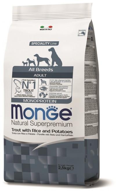 Monge Dog Monoprotein корм для собак всех пород форель с рисом и картофелем 2,5 кг арт.70011334