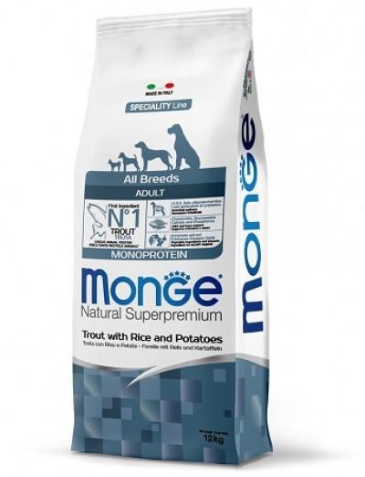 Monge Dog Monoprotein корм для собак всех пород форель с рисом и картофелем 12 кг арт. 70011358