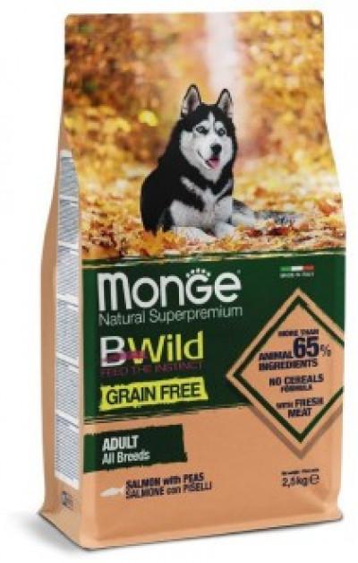Monge Dog BWild GRAIN FREE беззерновой корм из лосося и гороха для взрослых собак всех пород 2.5 кг арт.70011716