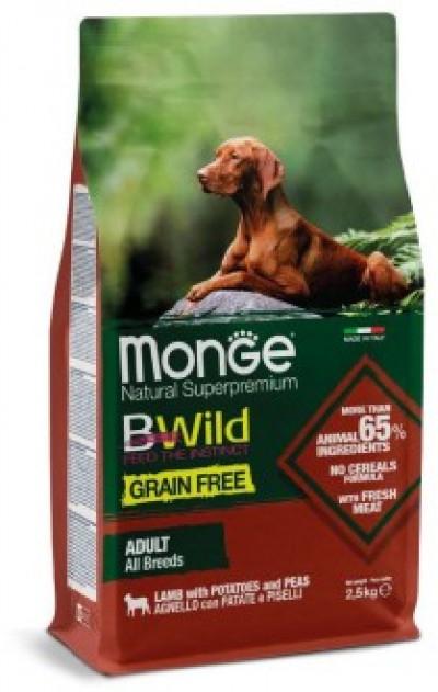 Monge Dog BWild GRAIN FREE беззерновой корм из мяса ягненка с картофелем и горохом для взрослых собак всех пород 2.5 кг арт.70011723