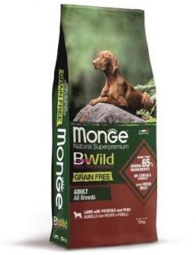 Monge Dog BWild GRAIN FREE беззерновой корм из мяса ягненка с картофелем и горохом для взрослых собак всех пород 12 кг арт.70011730