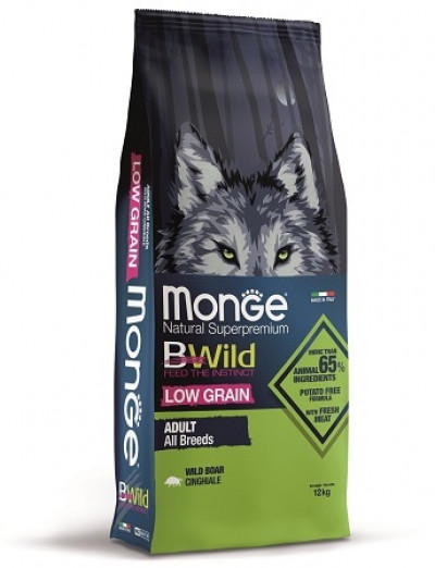Monge Dog BWild LOW GRAIN низкозерновой корм из мяса дикого кабана для взрослых собак всех пород 12 кг арт.70011754