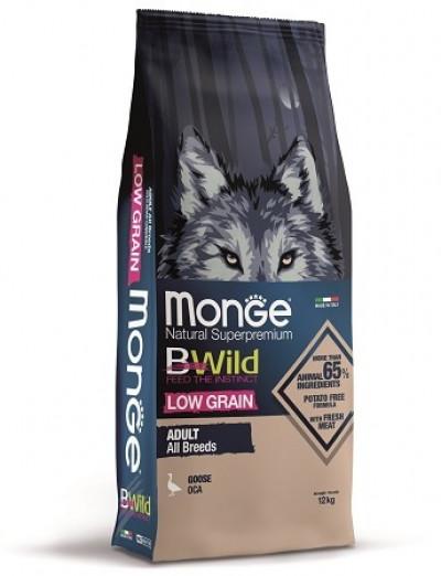 Monge Dog BWild LOW GRAIN низкозерновой корм из мяса гуся для взрослых собак всех пород 12 кг арт.70011778