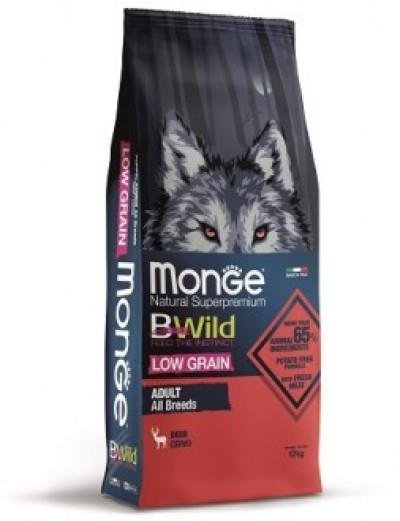 Monge Dog BWild LOW GRAIN низкозерновой корм из мяса оленя для взрослых собак всех пород 12 кг арт.70011792