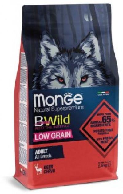 Monge Dog BWild LOW GRAIN низкозерновой корм из мяса оленя для взрослых собак всех пород 2,5 кг арт.70011983
