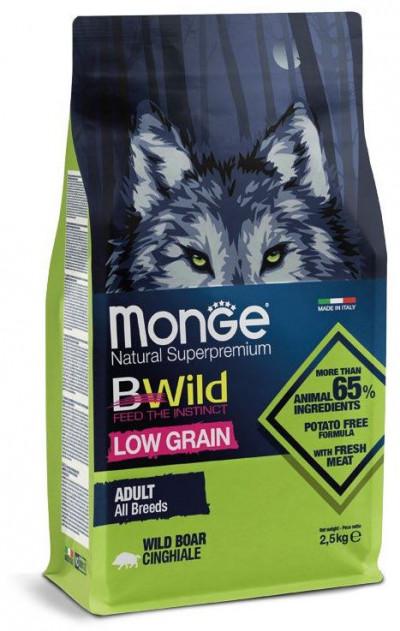Monge Dog BWild LOW GRAIN низкозерновой корм из мяса дикого кабана для взрослых собак всех пород 2,5 кг арт.70011990