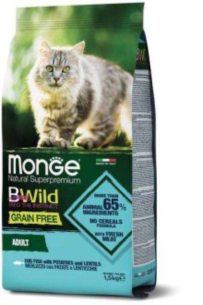 Monge Cat BWild GRAIN FREE беззерновой корм из трески, картофеля и чечевицы для взрослых кошек 1,5 кг арт.70012058
