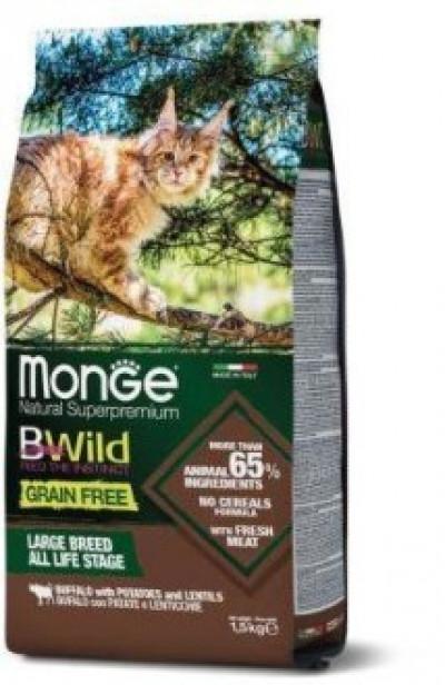 Monge Cat BWild GRAIN FREE беззерновой корм из мяса буйвола для крупных кошек всех возрастов 10 кг арт.70004961