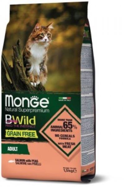 Monge Cat BWild GRAIN FREE беззерновой корм из лосося и гороха для взрослых кошек 1,5 кг арт.70012072