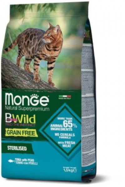 Monge Cat BWild GRAIN FREE беззерновой корм из тунца и гороха для взрослых кошек 1,5 кг арт.70012089