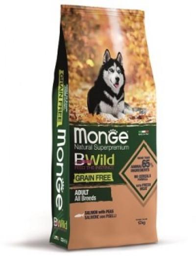 Monge Dog BWild GRAIN FREE беззерновой корм из лосося и гороха для взрослых собак всех пород 12 кг арт.70012119