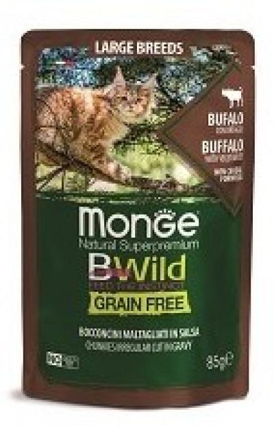 Monge Cat BWild GRAIN FREE паучи из мяса буйвола с овощами для кошек крупных пород 85г арт.70012751