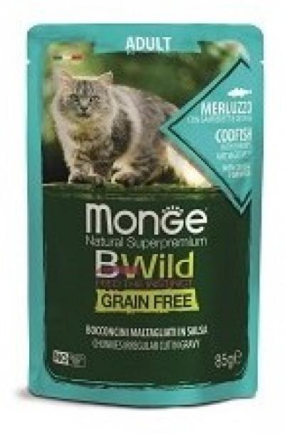 Monge Cat BWild GRAIN FREE паучи из трески с креветками и овощами для взрослых кошек 85г арт.70012768