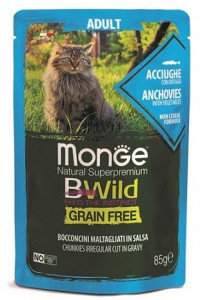 Monge Cat BWild GRAIN FREE паучи из анчоусов с овощами для взрослых кошек 85г арт.70012775