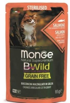 Monge Cat BWild GRAIN FREE паучи из лосося с креветками и овощами для стерилизованных кошек 85г арт.70012782