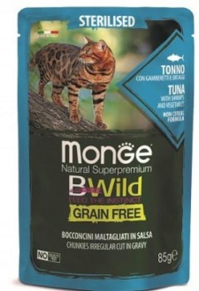 Monge Cat BWild GRAIN FREE паучи из тунца с креветками и овощами для стерилизованных кошек 85г арт.70012799