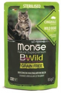 Monge Cat BWild GRAIN FREE паучи из мяса дикого кабана с овощами для стерилизованных кошек 85г арт.70012805