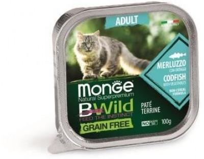 Monge Cat Bwild Grain free консервы для взрослых кошек с треской и овощами 100 гр арт.70012867