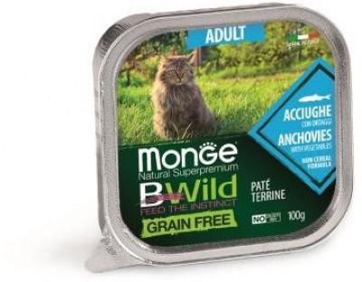 Monge Cat Bwild Grain free консервы для взрослых кошек с анчоусами и овощами 100 гр арт.70012874