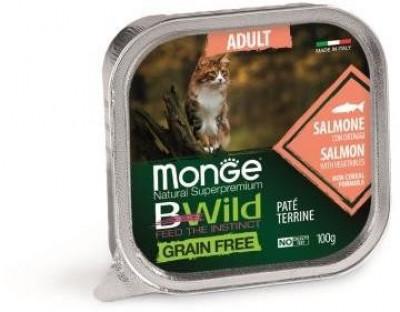 Monge Cat BWild Grain free консервы для взрослых кошек из лосося с овощами100 гр арт.70012881