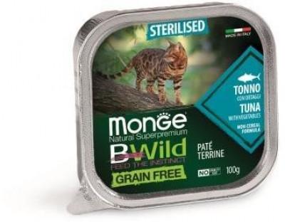 Monge Cat BWild Grain free консервы для стерилизованных кошек из тунца с овощами 100 гр арт.70012898