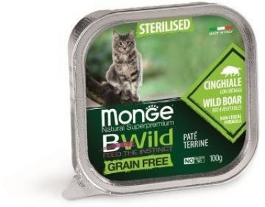 Monge Cat BWild GRAIN FREE консервы из кабана с овощами для стерилизованных кошек 100 гр арт.70012904